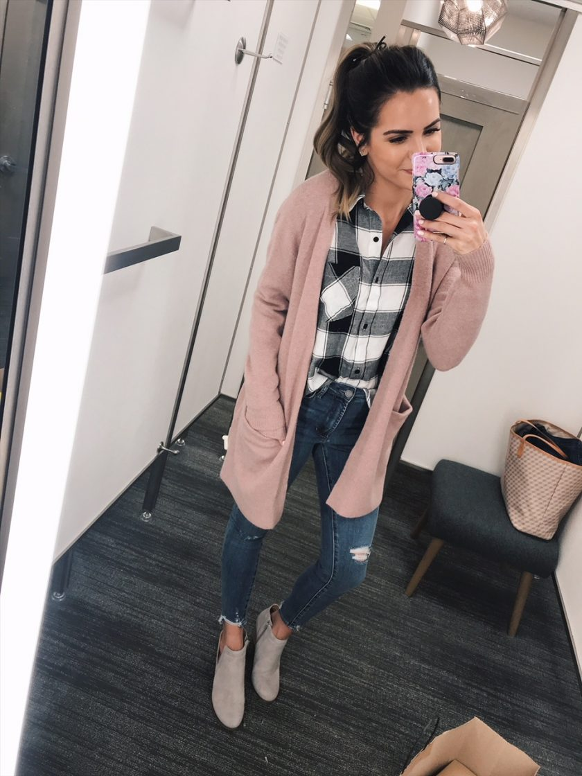 madewell ryder cardigan, bp. plaid shirt, nsale 2018