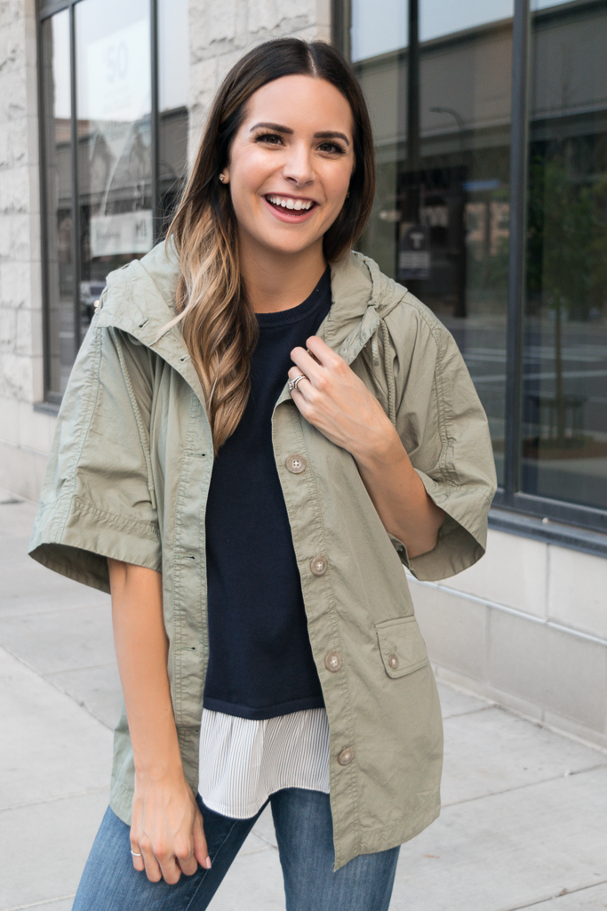 transitioning into fall outfits, loft hooded poncho jacket, Minneapolis blogger