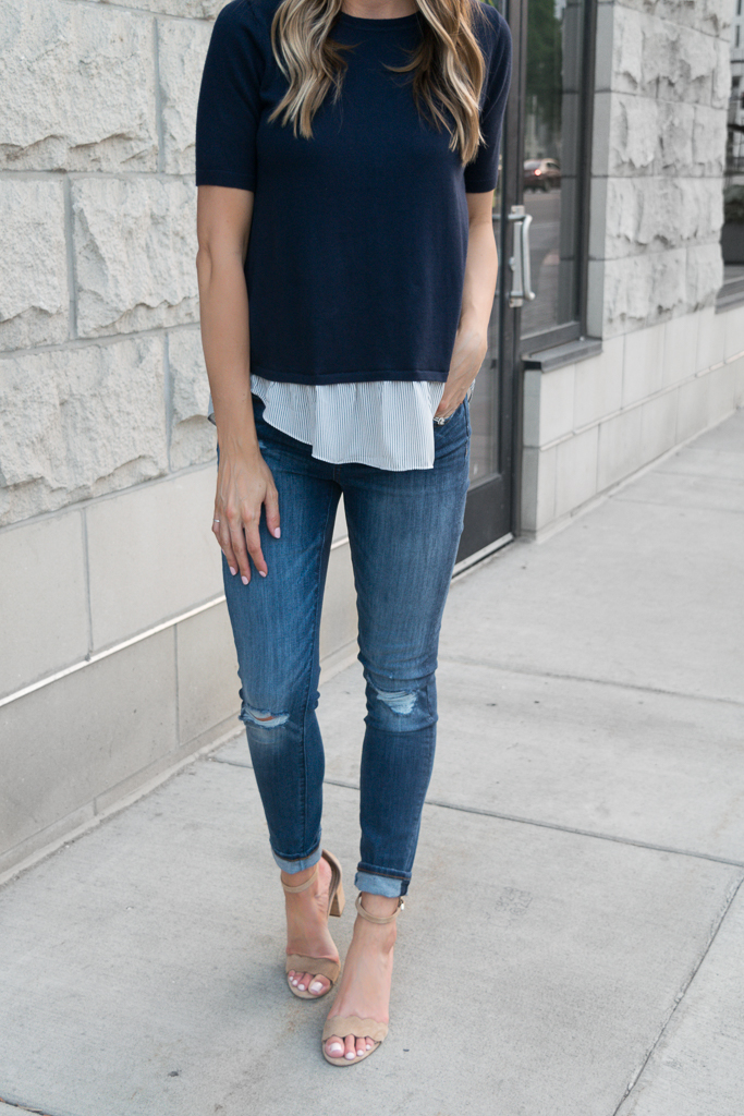 transitioning into fall outfits, loft modern skinny jeans destructed indigo wash, summer to fall fashion