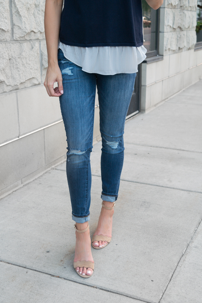 transitioning into fall outfits, loft modern skinny jeans destructed indigo wash