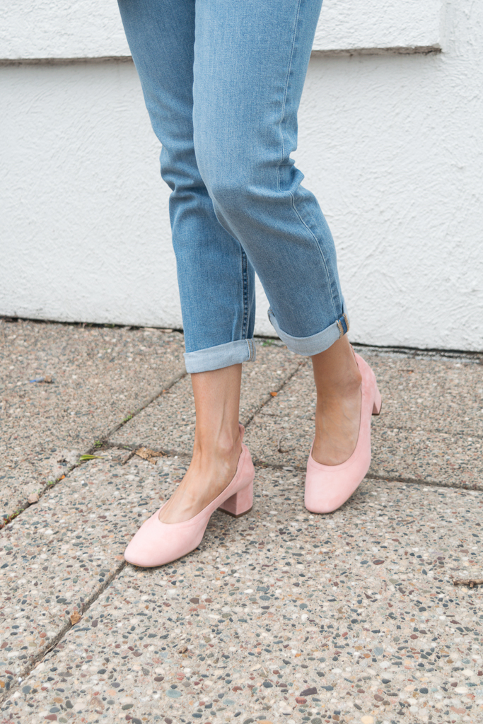 everlane, the day heel, pink suede, modern boyfriend jeans