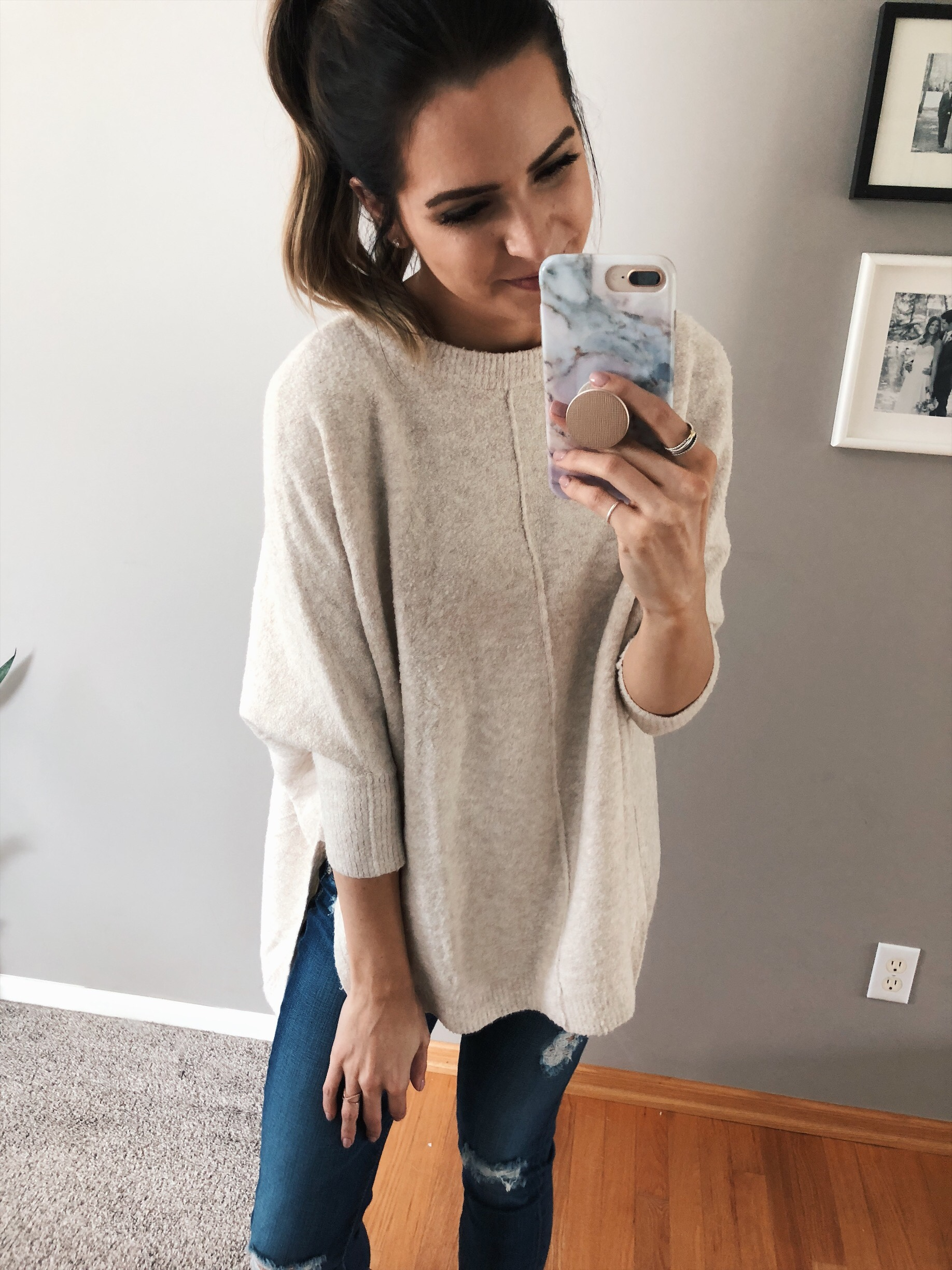 lou & grey seamed poncho sweater, loft try-on, friends and family sale