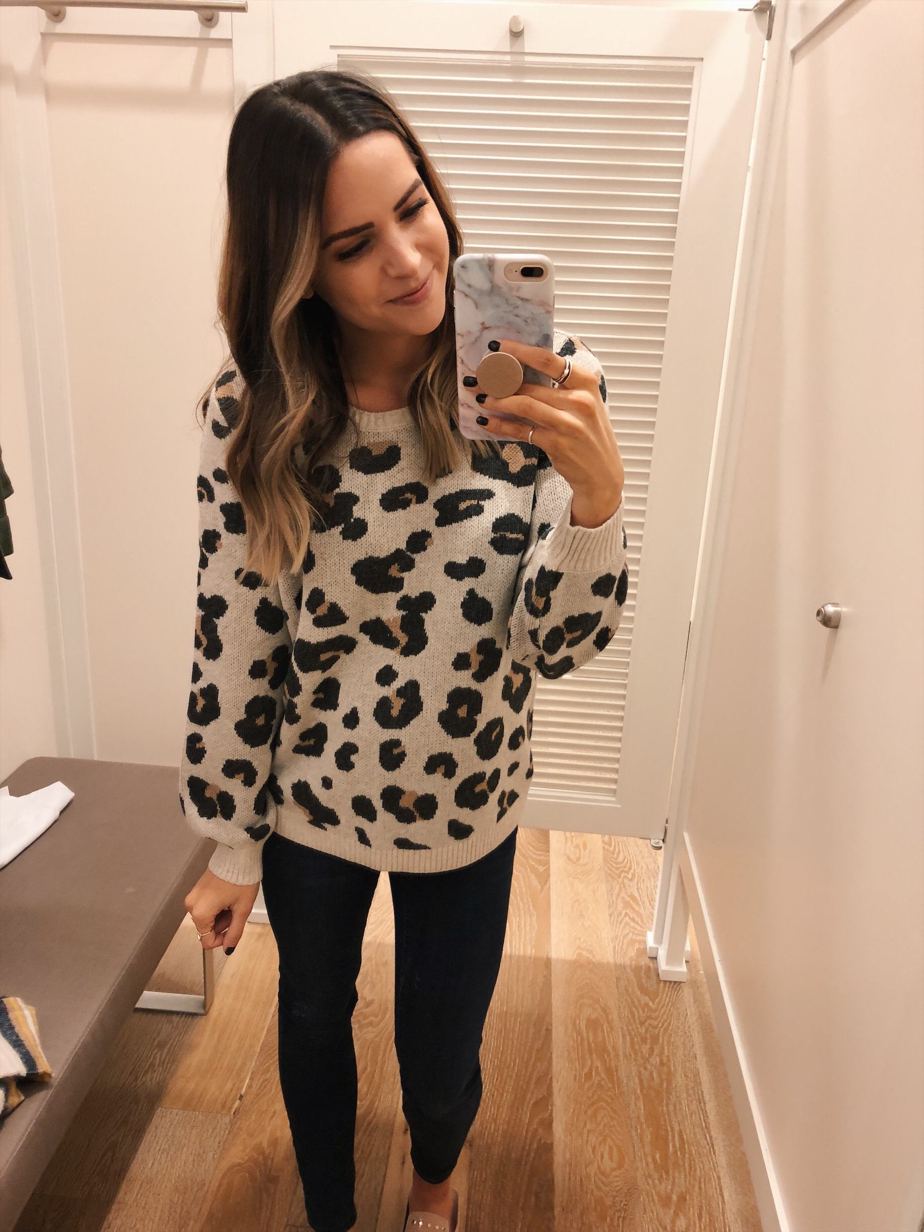 loft leopard jacquard sweater, loft try-on, friends and family sale