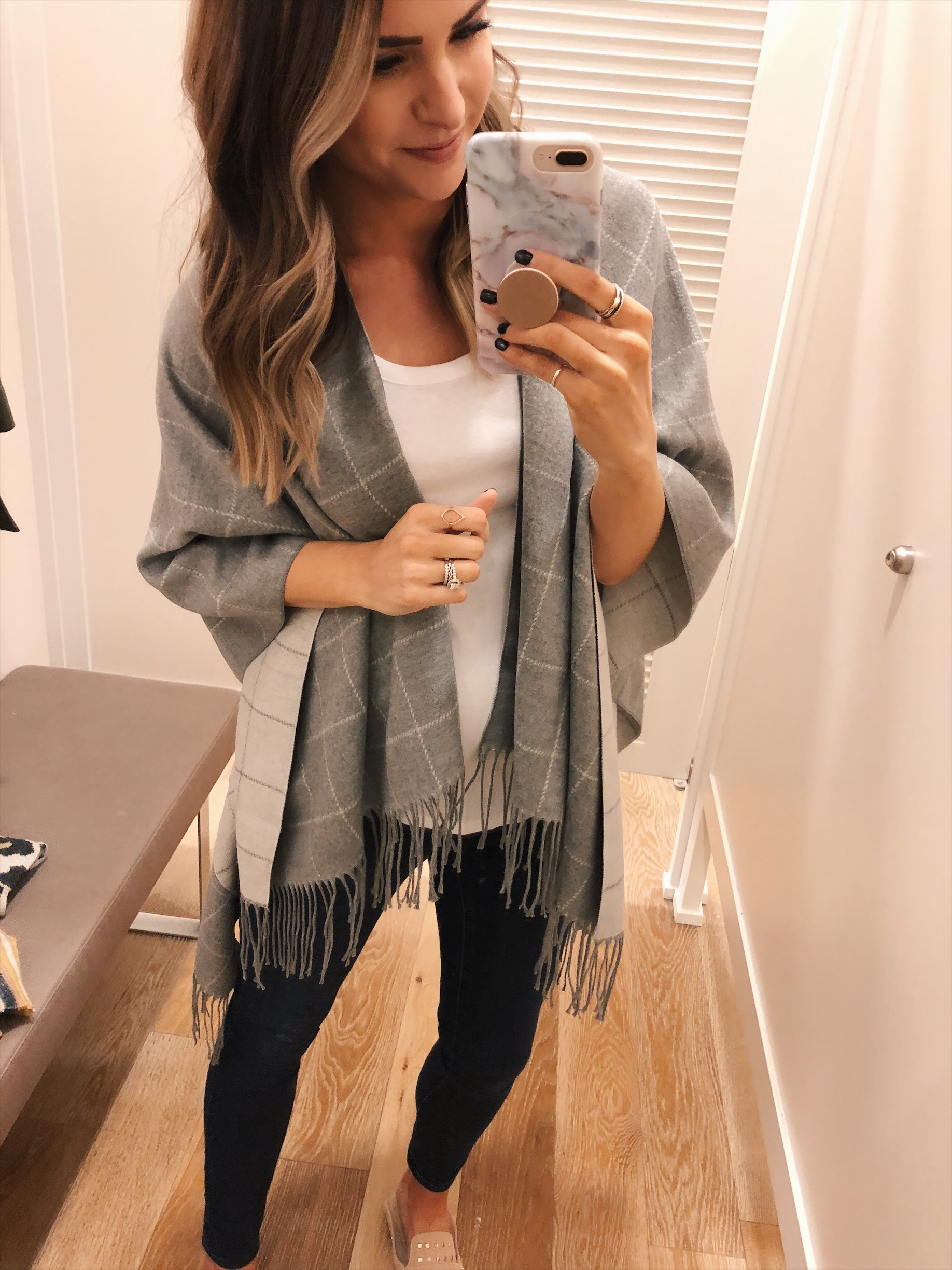 loft reversible plaid poncho, loft try-on, friends and family sale
