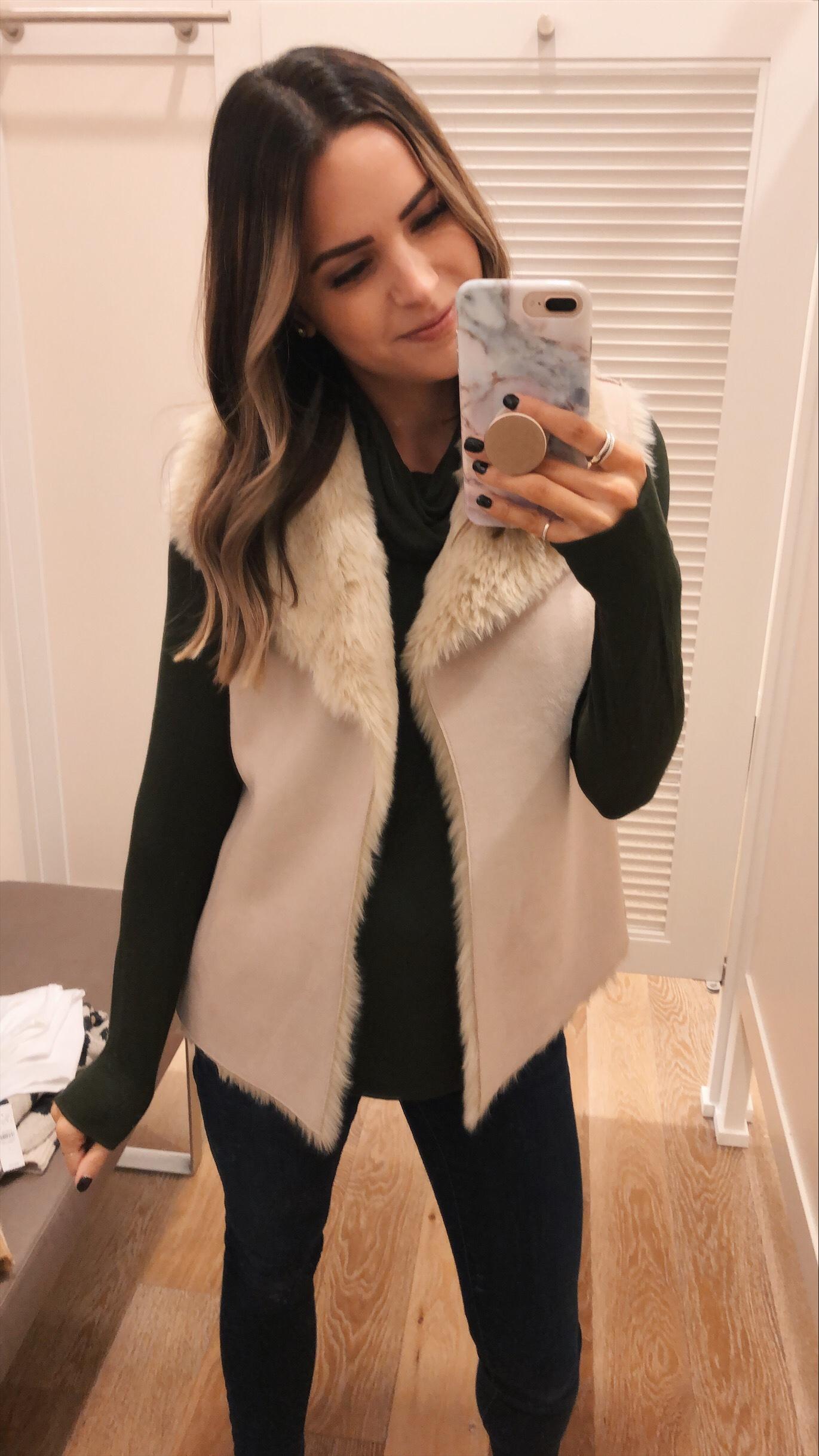loft faux fur lined vest, loft try-on, friends and family sale