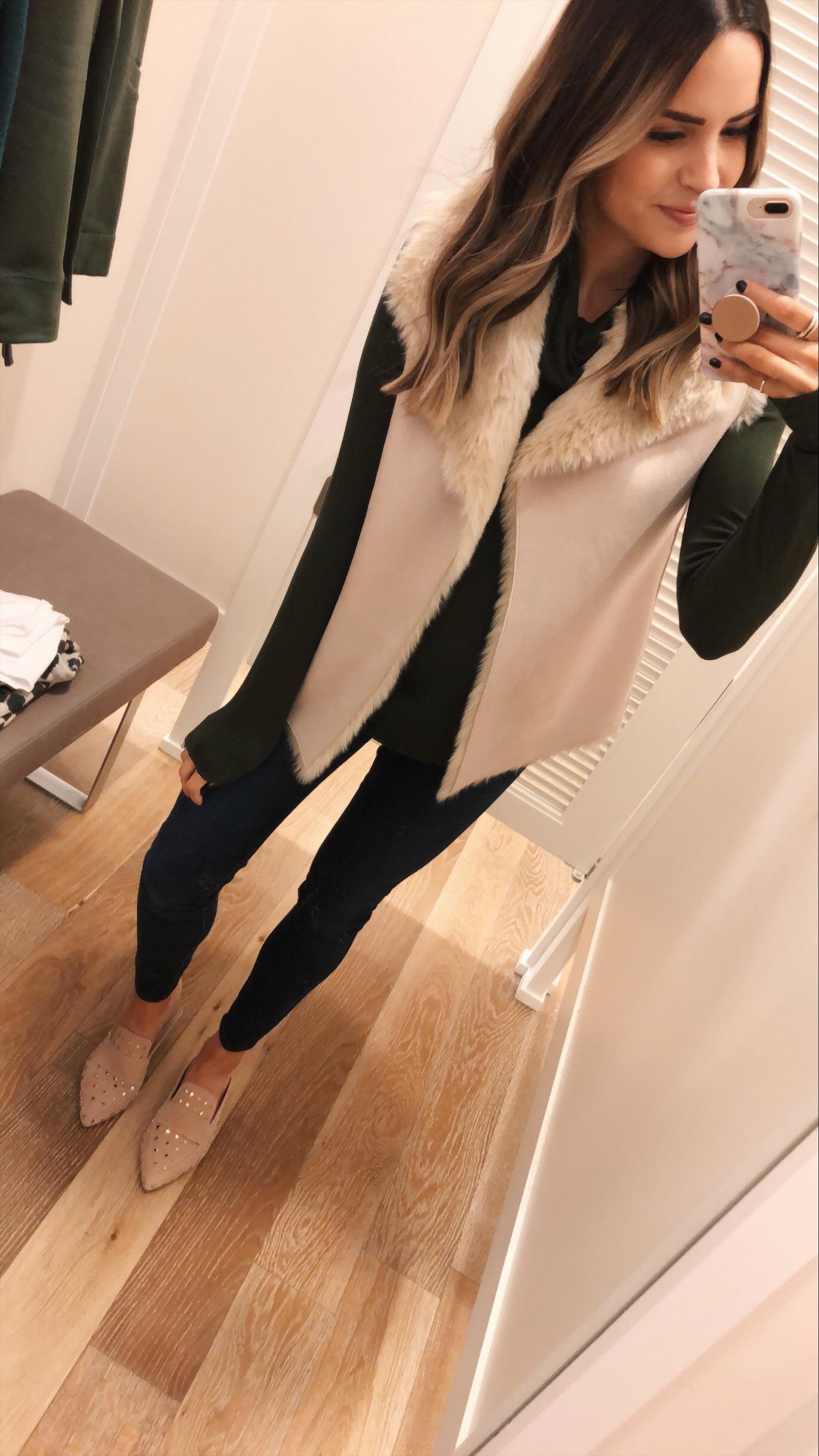 loft faux fur lined vest, loft try-on, family and friends sale