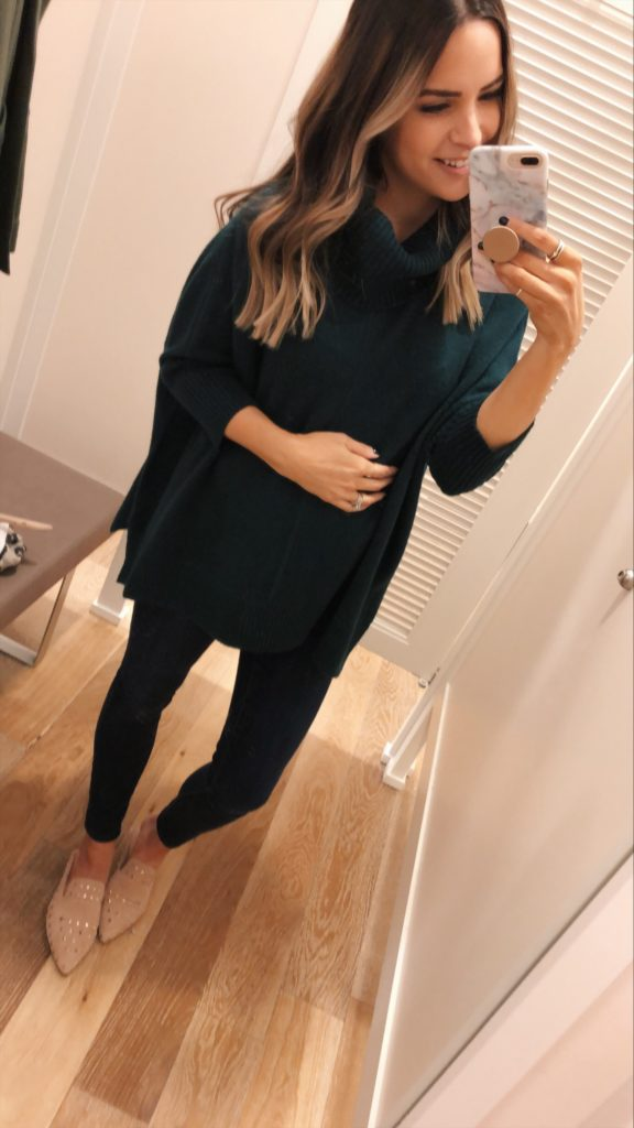 loft turtleneck sweater poncho, loft try-on, friends and family sale