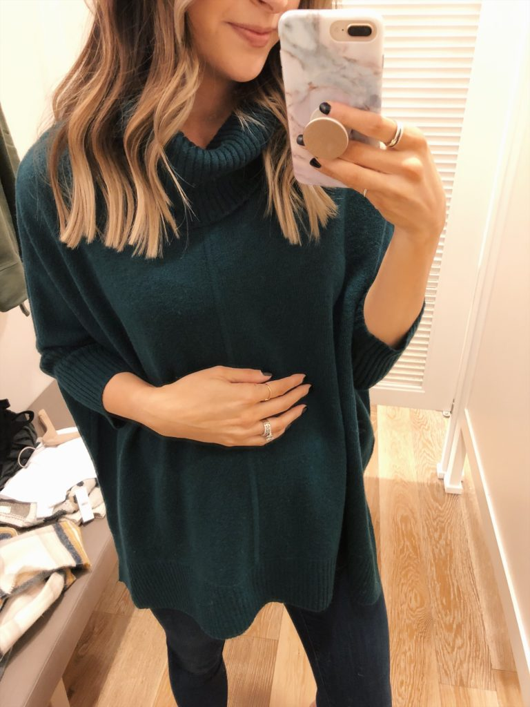 loft try-on, friends and family sale, turtleneck sweater poncho, bump style