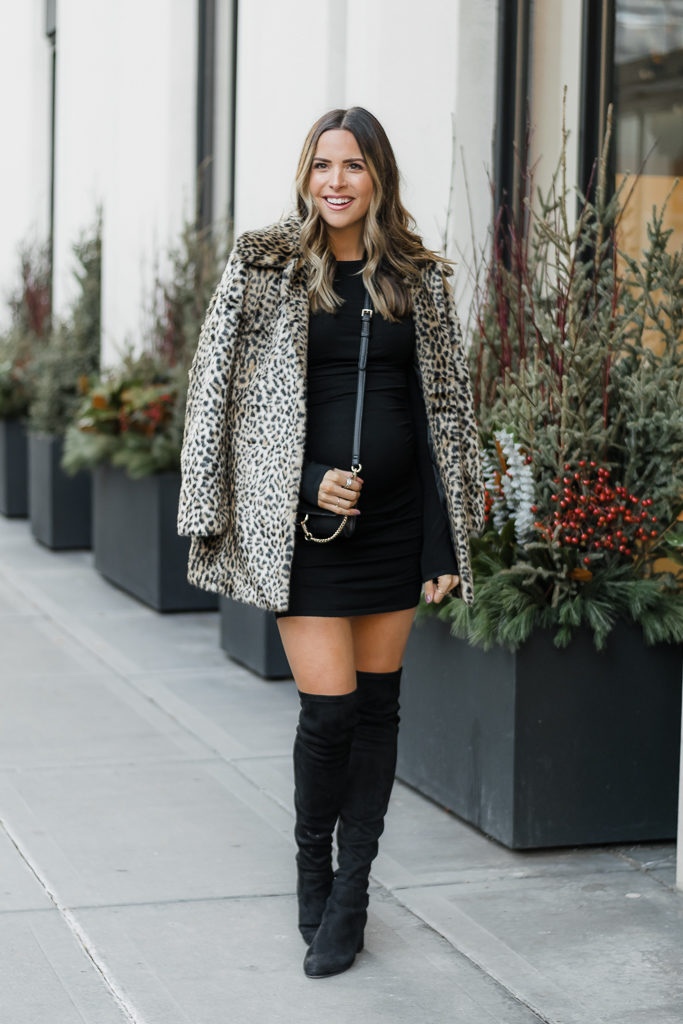 express holiday outfit, holiday party outfit, faux fur leopard coat, bump style