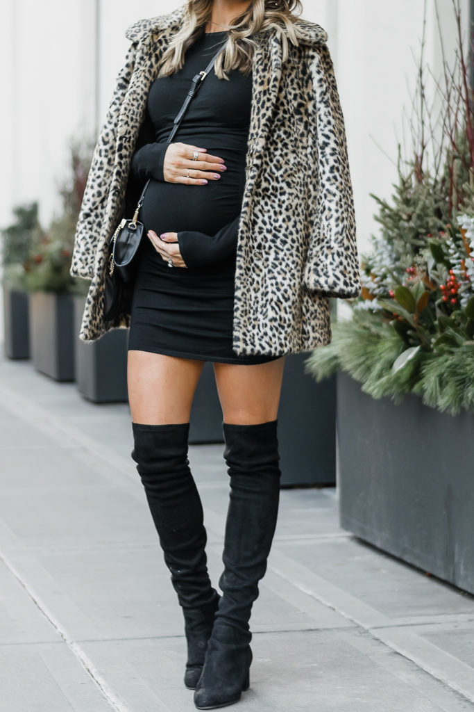 express holiday outfit, holiday party outfit, faux fur leopard coat, bump style, minneapolis fashion blogger