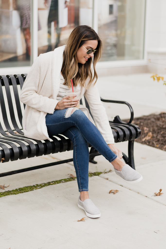 famous footwear dr. scholl's madison slip on sneakers, lauren james sherpa cardigan, mn blogger