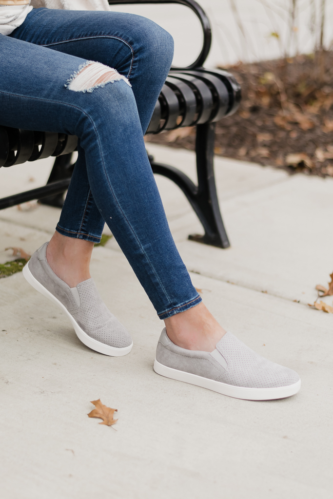 famous footwear dr. scholl's madison slip on sneakers in grey cloud