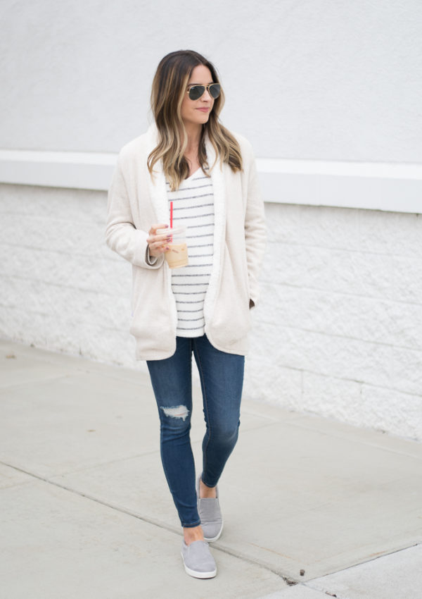 famous footwear dr. scholl's madison slip on sneakers, lauren james sherpa cardigan