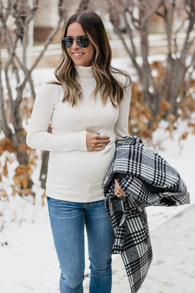 maternity wear for winter, holiday bump style, motherhood maternity, maternity turtleneck