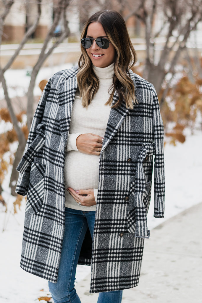 maternity wear for winter, holiday bump style, motherhood maternity, maternity coat