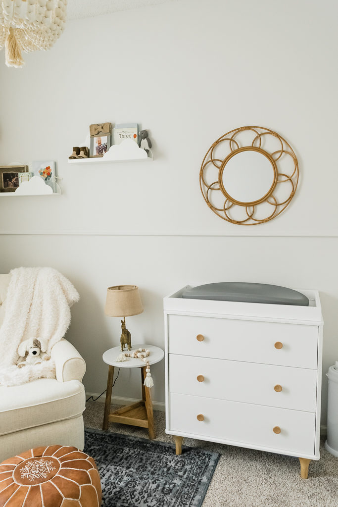neutral boy nursery, boho nursery decor, buybuy baby, babyletto lolly dresser, affordable nursery