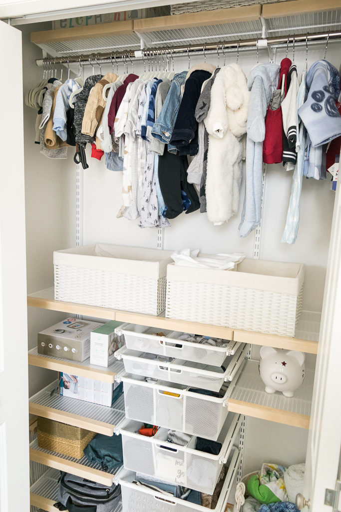 nursery elfa closet system, the container store, neat method minneapolis, nursery organization