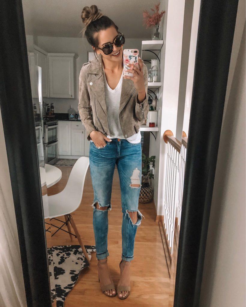shopbop sale, event of the season 2019 picks, blanknyc suede moto jacket sand stoner, blank denim jeans