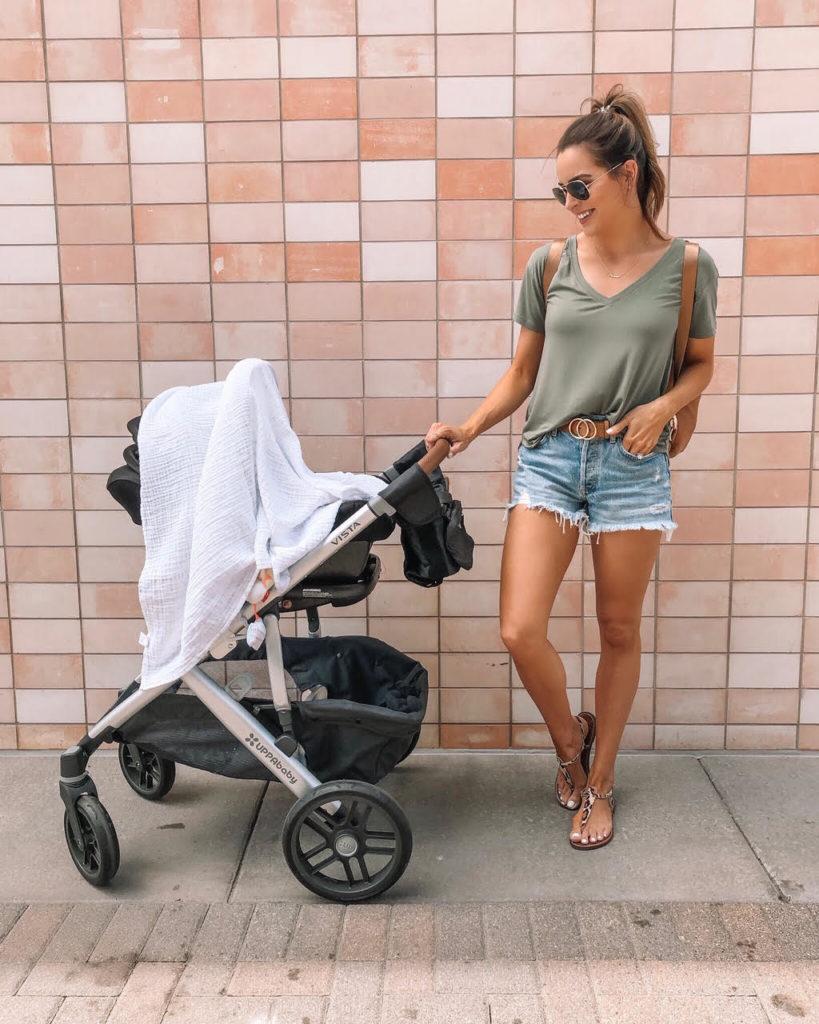 abercrombie v neck tee, agolde shorts, uppabista baby stroller