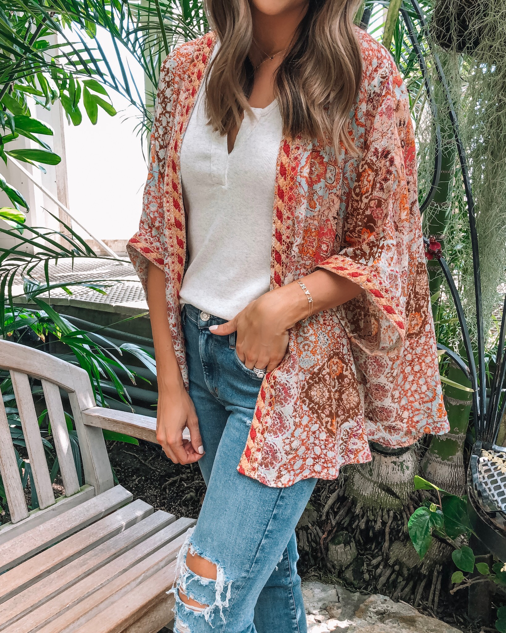 evereve Mother's Day sale 2019, Allison joy mosaic kimono, bobi rib tank, agolde Sophie crop