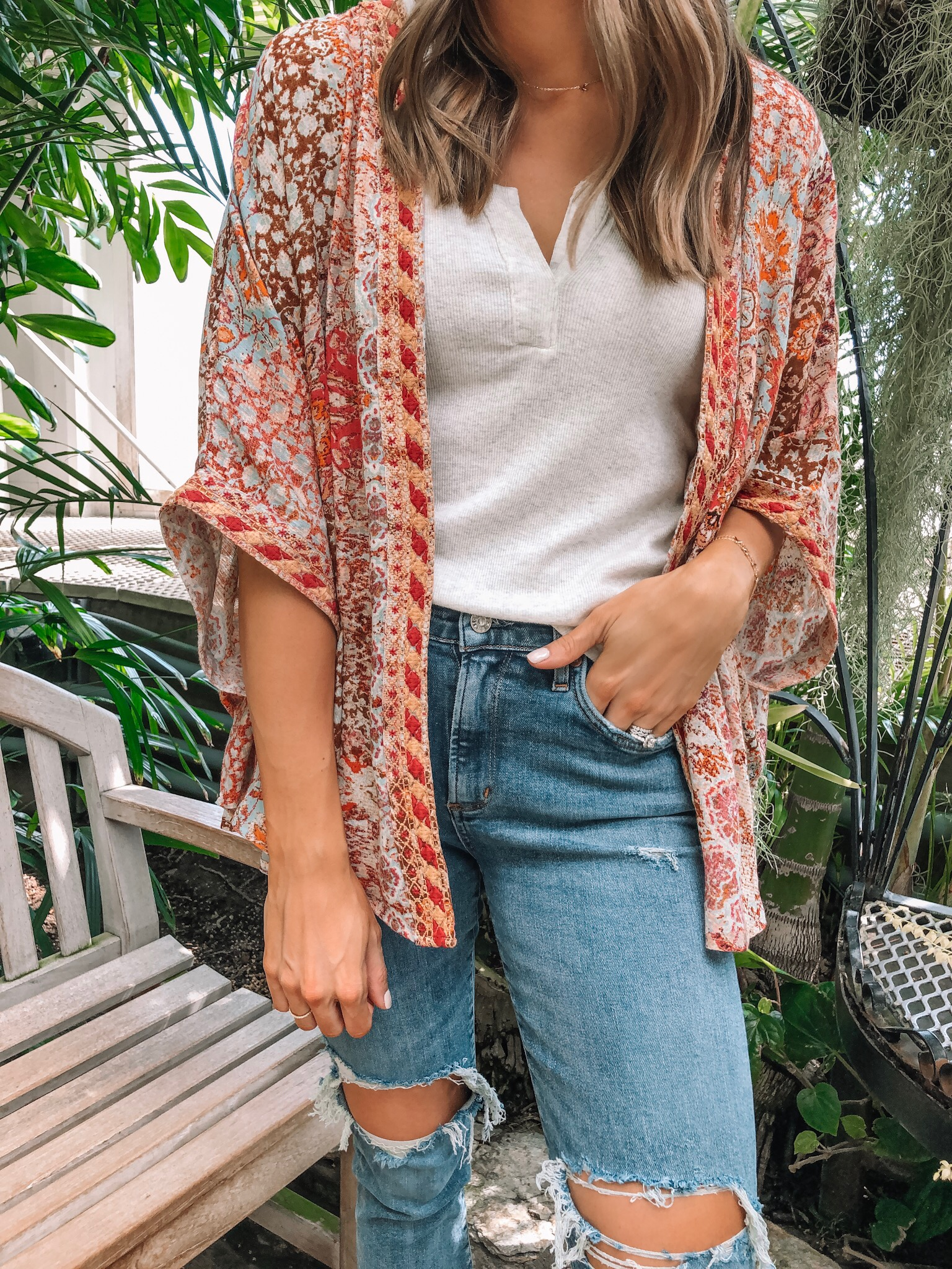 evereve Mother's Day sale 2019, Allison joy mosaic kimono, bobi rib tank, agolde Sophie crop