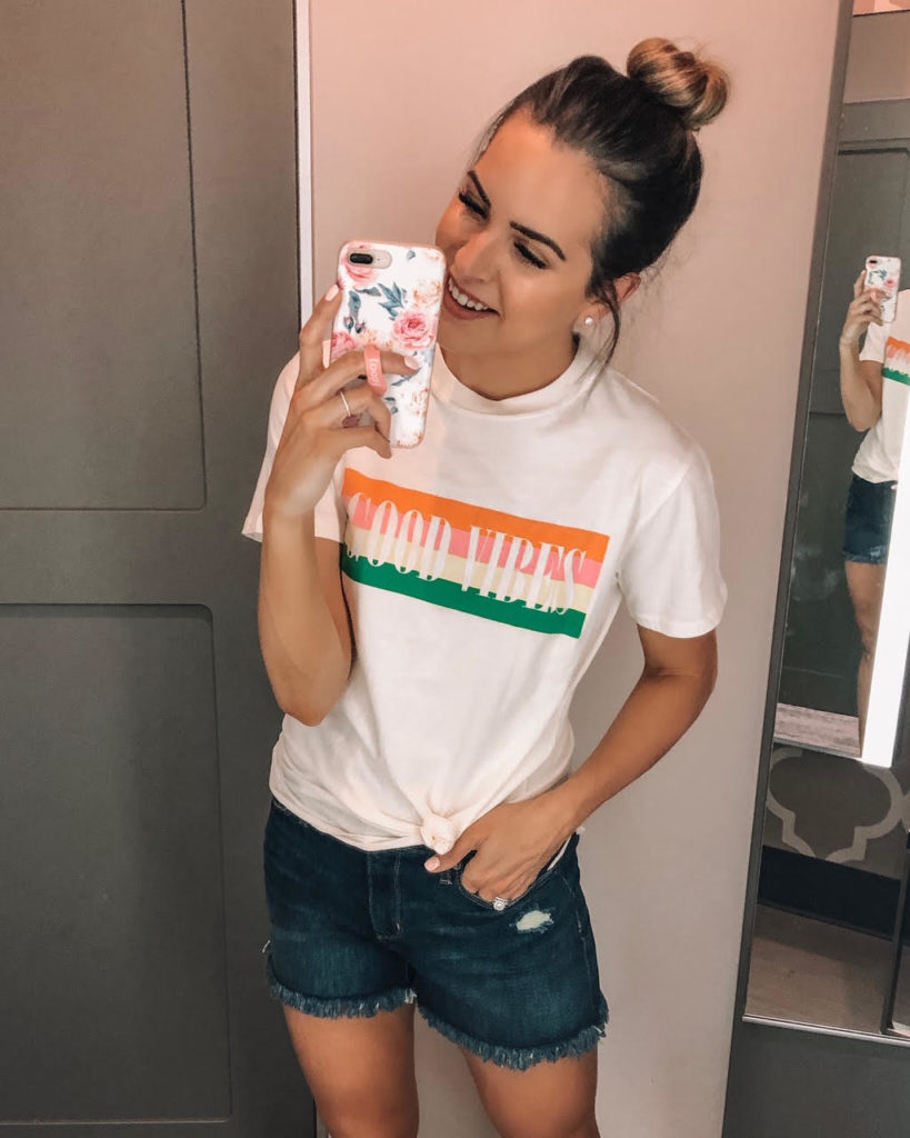 june target haul, target finds, Women's Short Sleeve Good Vibes Graphic T-Shirt, Mighty Fine, Women's High-Rise Jean Shorts, Universal Thread