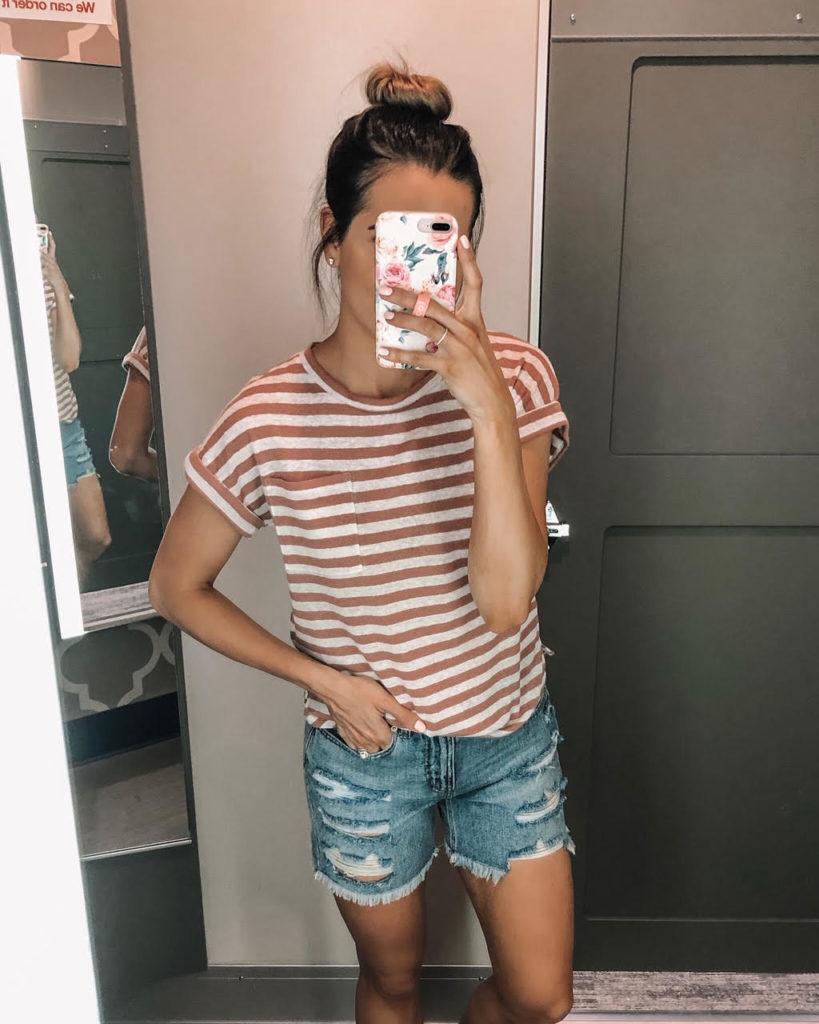 june target haul, target finds, Women's Striped Regular Fit Short Sleeve Crewneck Linen Cuff T-Shirt - A New day, Women's High-Rise Destructed Relaxed Longer Length Jean Shorts - Wild Fable, Light Blue Wash