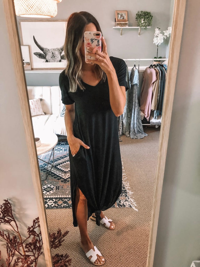 Amazon try on, haul, june 2019, Women's Casual Loose Pocket Long Dress Short Sleeve Split, Maxi Dresses