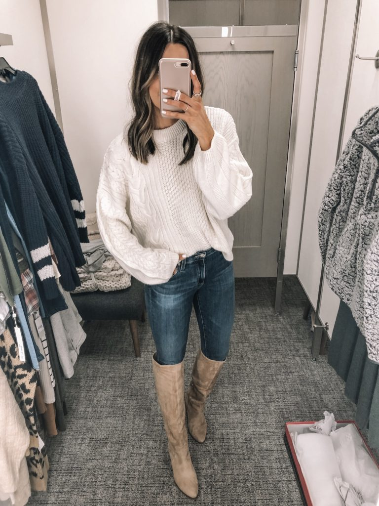 nsale 2019 try on, Nordstrom anniversary sale, Vince Camuto nestle knee high boot, Topshop patch cable crewneck sweater