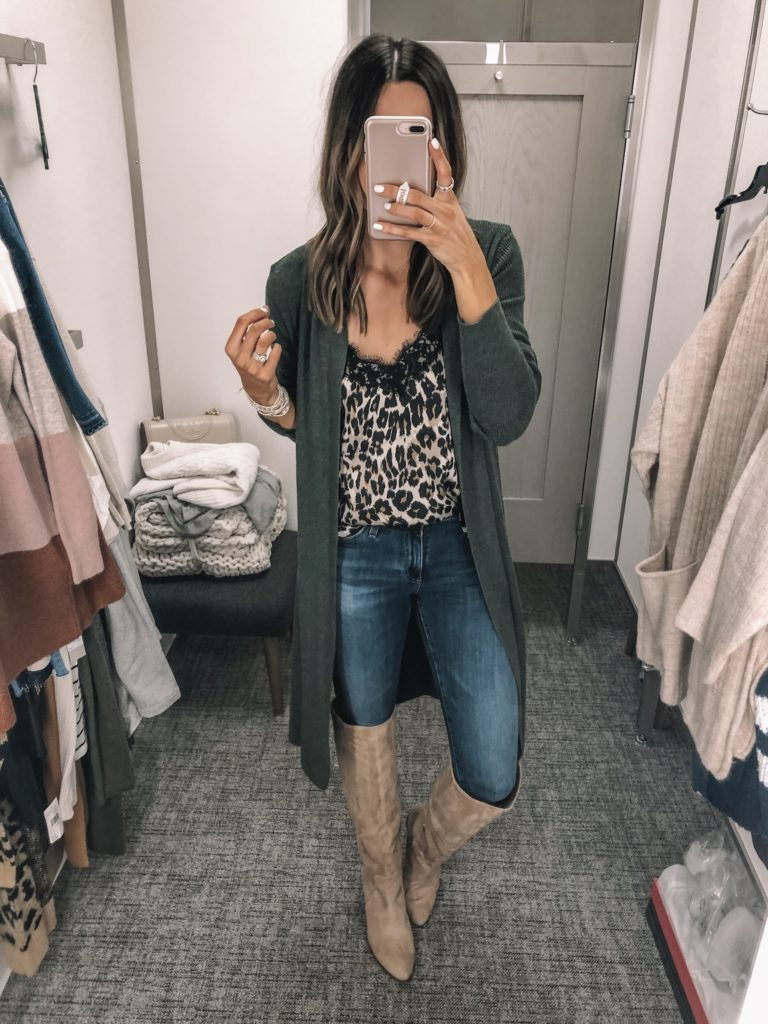 nsale 2019 try on, Nordstrom anniversary sale, bp. lace trim cami leopard, Leith cardigan