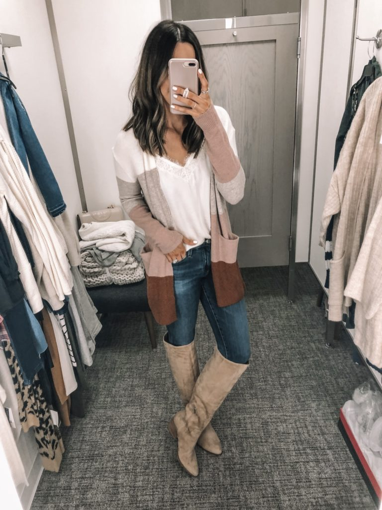 nsale 2019 try on, Nordstrom anniversary sale, Vince Camuto nestle knee high boot, Madewell color block Ryder cardi