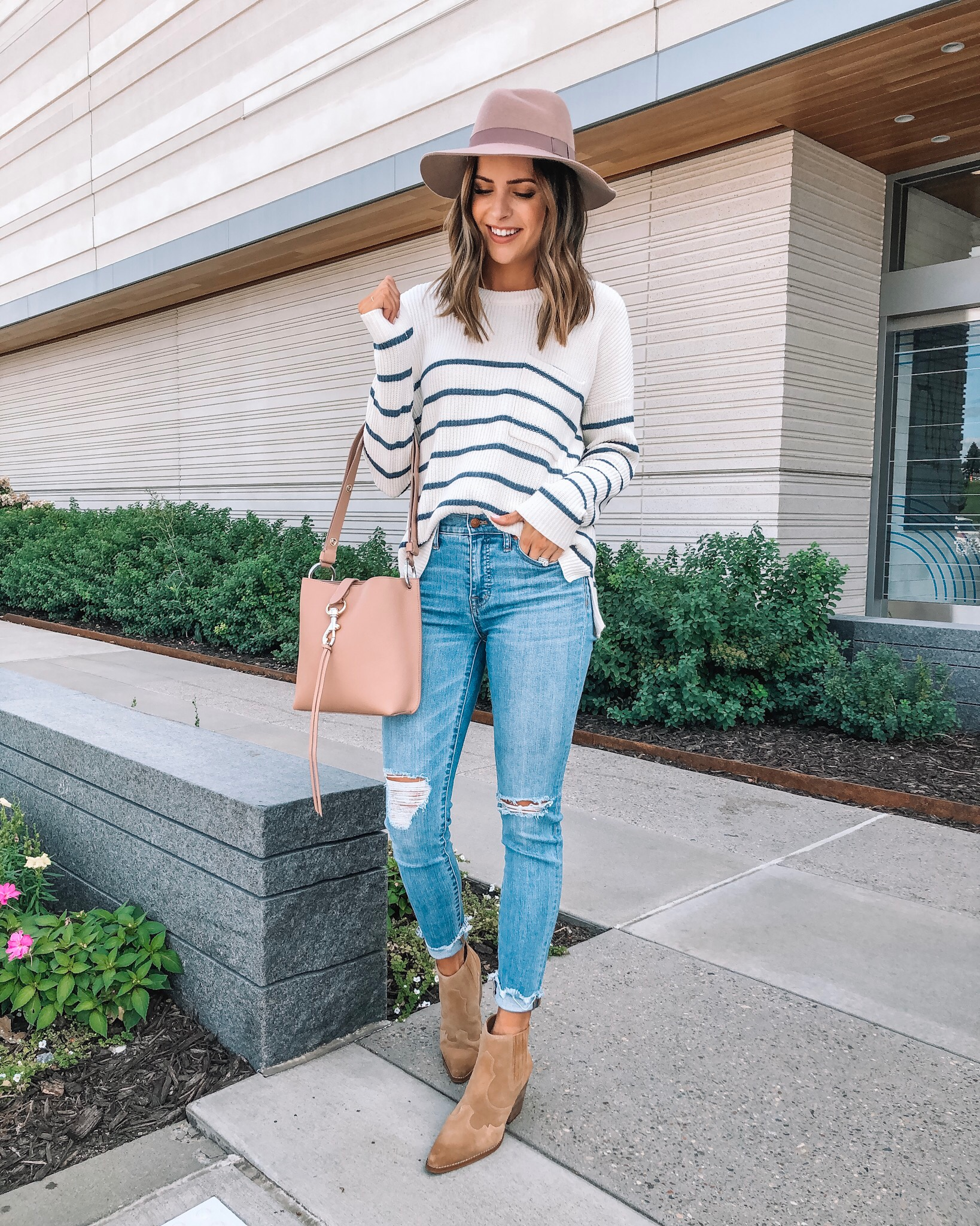 my go-to fall outfit, fall fashion, made well, Nordstrom, Rebecca minkoff small Megan crossbody bag, wool felt hat, sam Edelman Winona booties