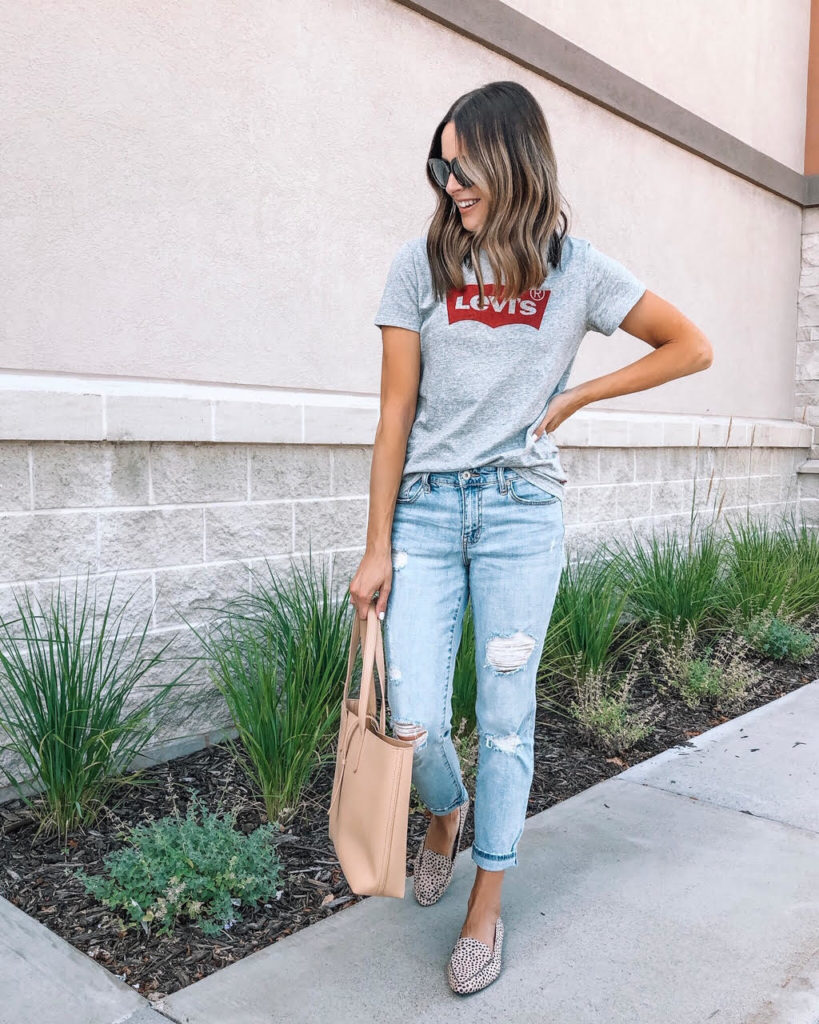pre-fall basics from Walmart, Levi's tee, leopard flats, affordable style, budget fashion, casual outfit