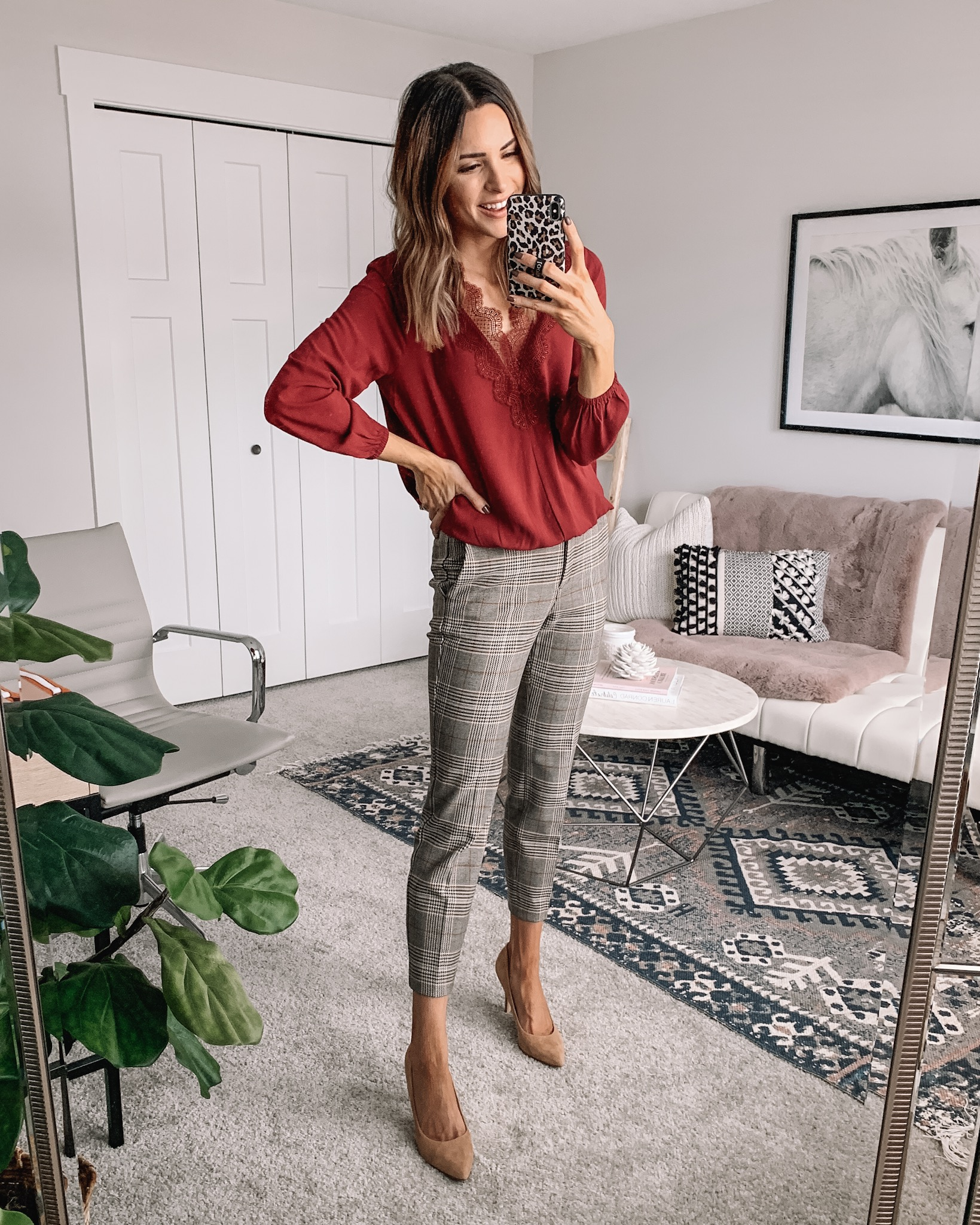 how to style plaid pants, workwear outfit fall, express