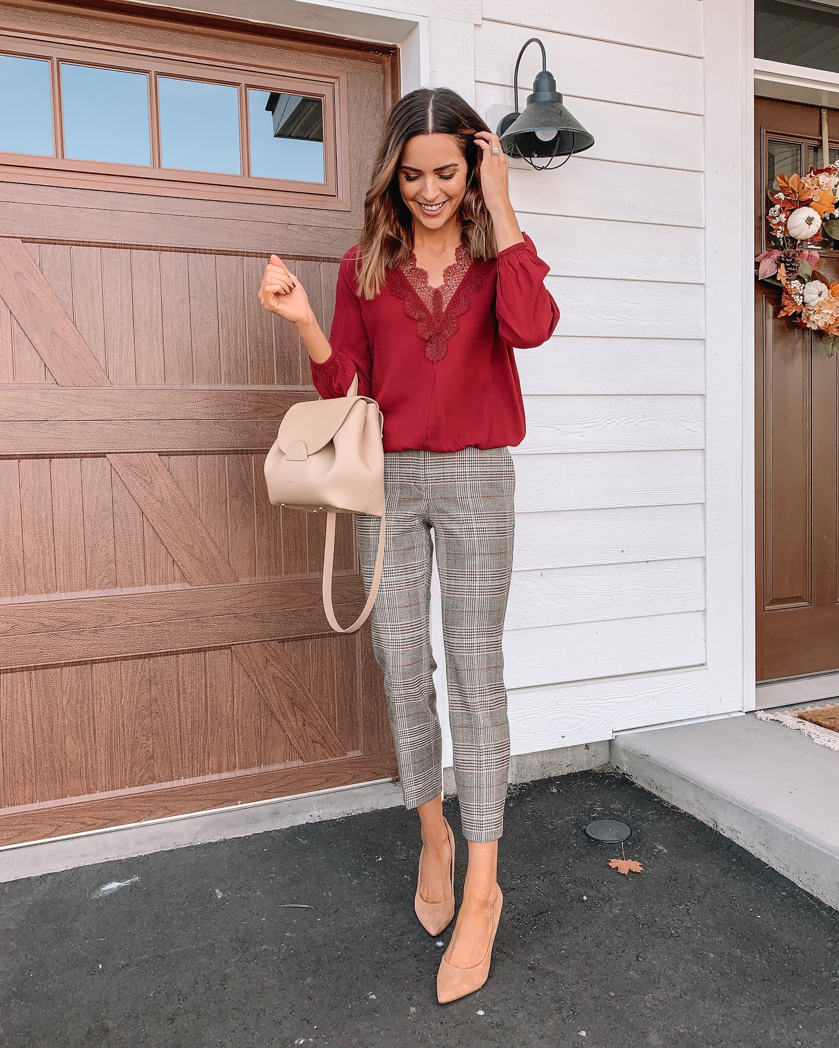 how to style plaid pants, workwear outfit fall, express, polene Paris bag
