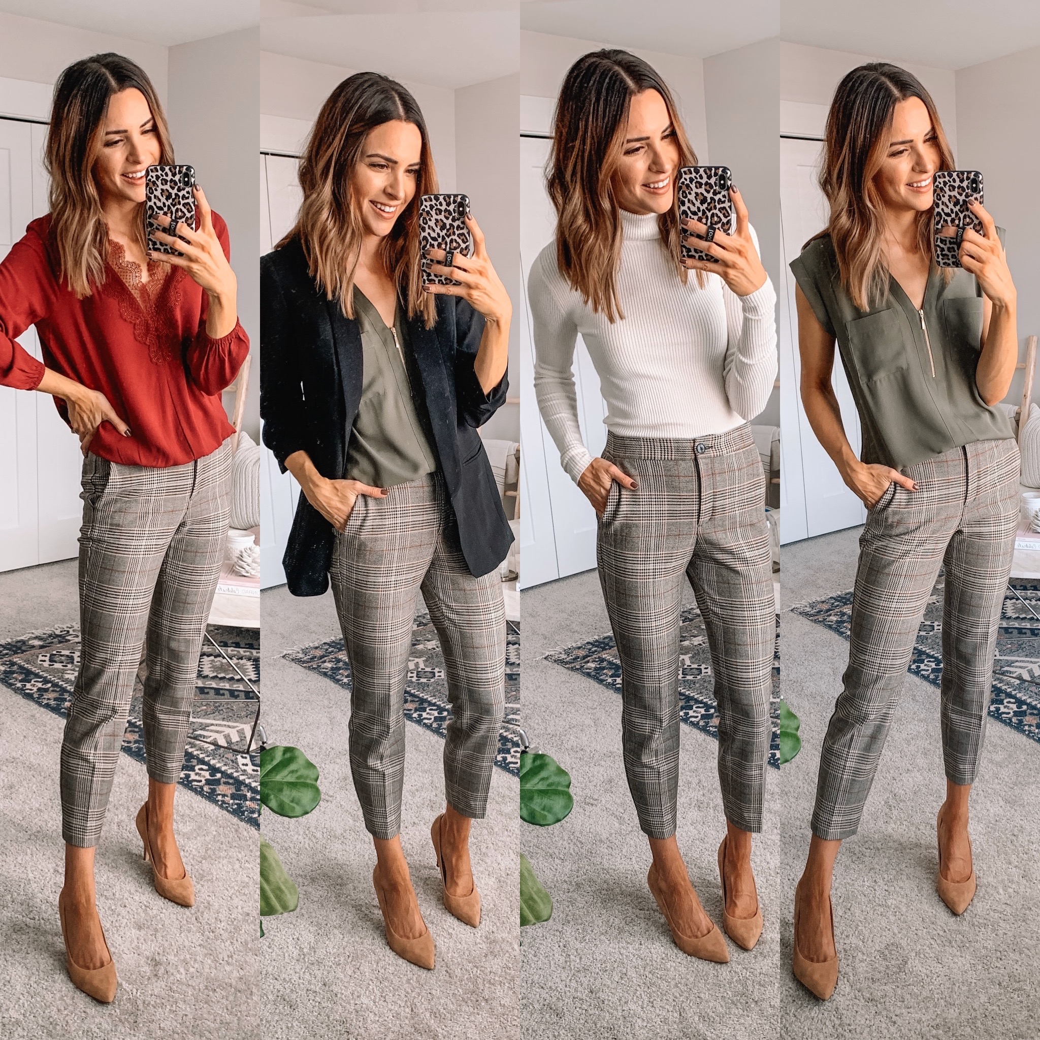 how to style plaid pants, workwear outfit fall, express, classic