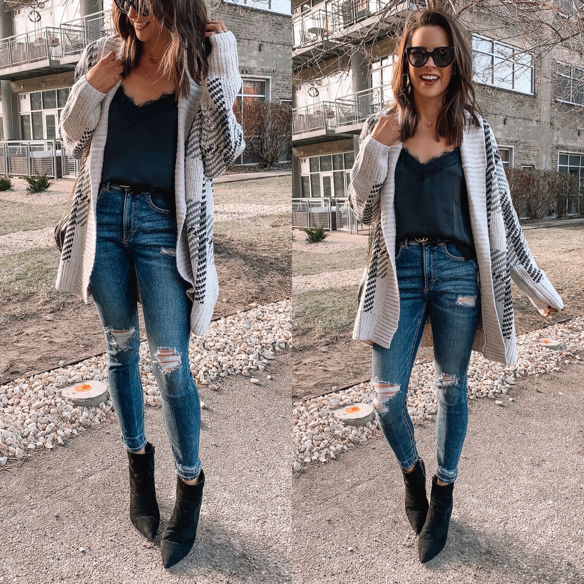 express Black Friday cyber Monday sale 2019. plaid cardigan coatigan, affordable fashion, winter fashion, holiday outfit, Minneapolis blogger