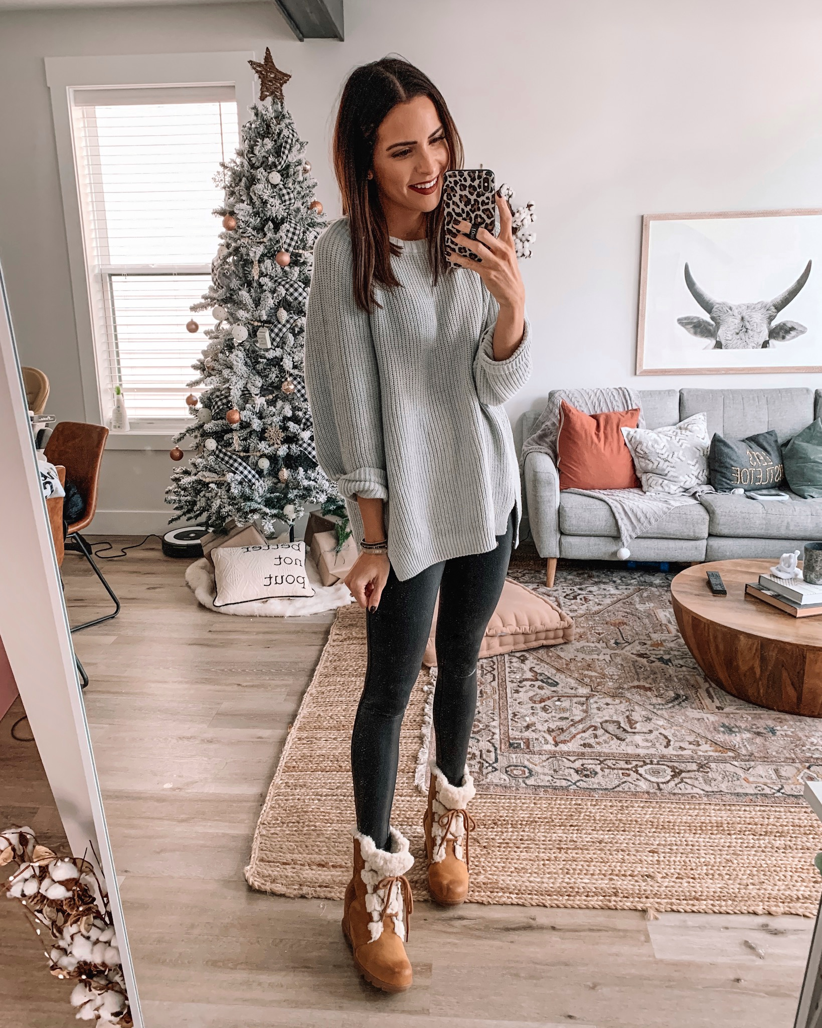faux leather leggings outfit, express Black Friday cyber Monday sale 2019. tunic sweater, affordable fashion, winter fashion, holiday outfit, Minneapolis blogger