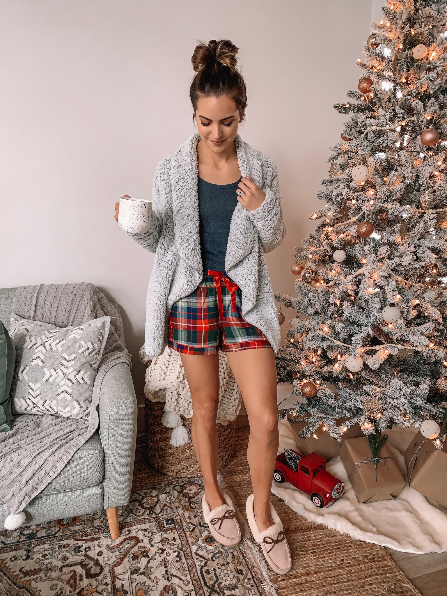 jockey holiday sleepwear, loungewear, Christmas pajamas, plaid flannel shorts, sherpa cardigan