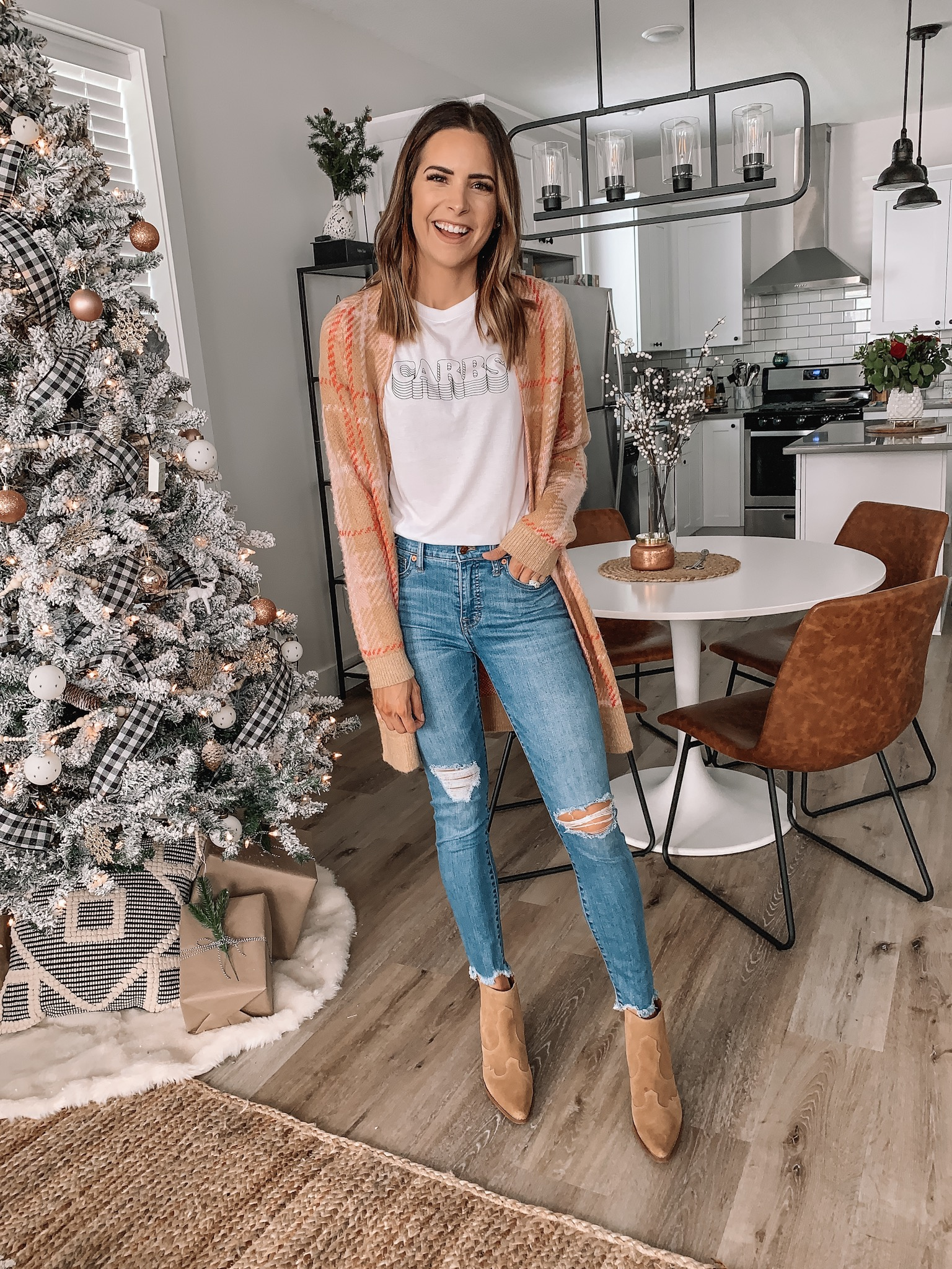 thanksgiving outfit ideas, cute, comfy, Nordstrom, plaid cardigan