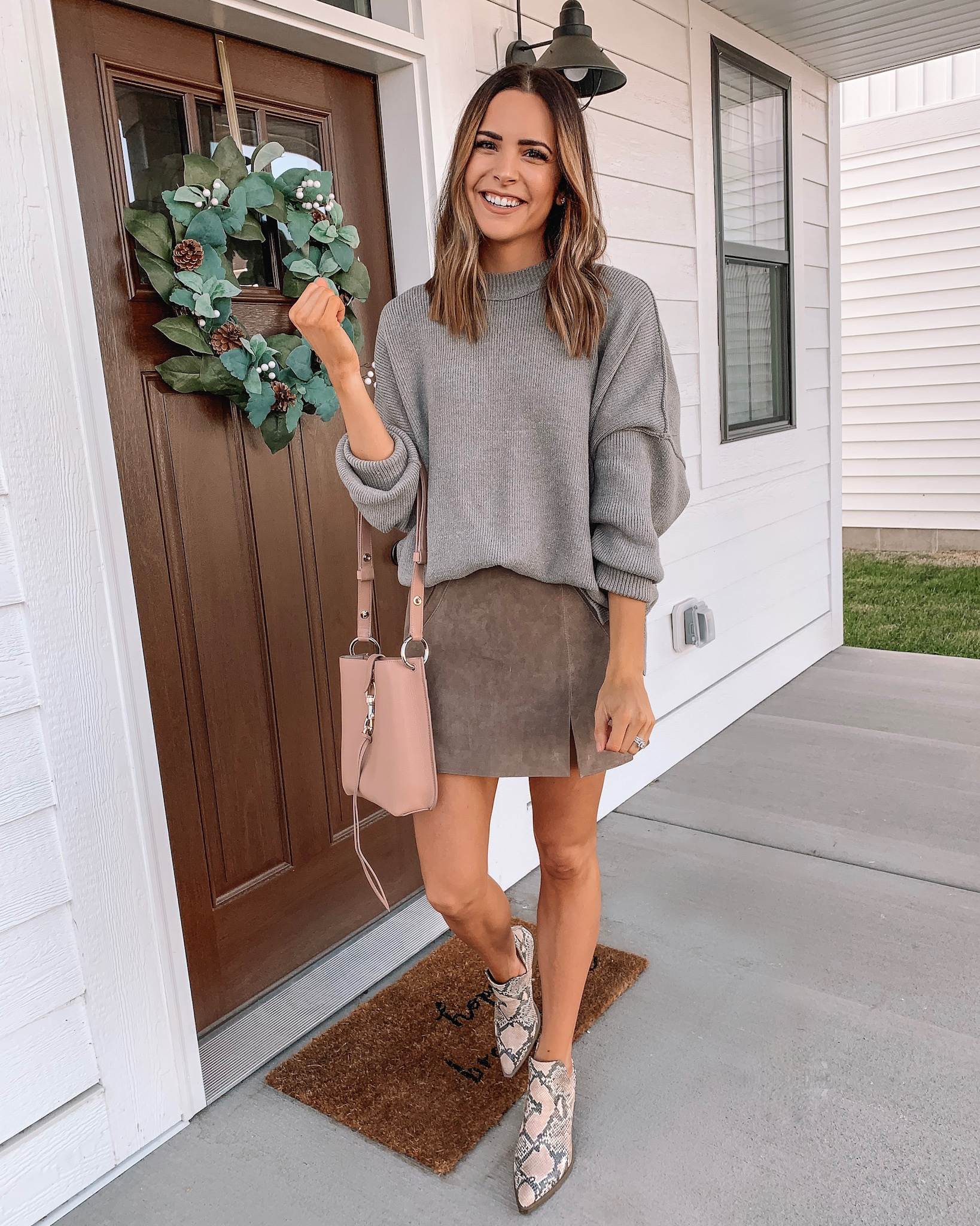 thanksgiving outfit ideas, cute, comfy, dressy, Nordstrom, free people easy street tunic, plaid cardigan, black sweater dress