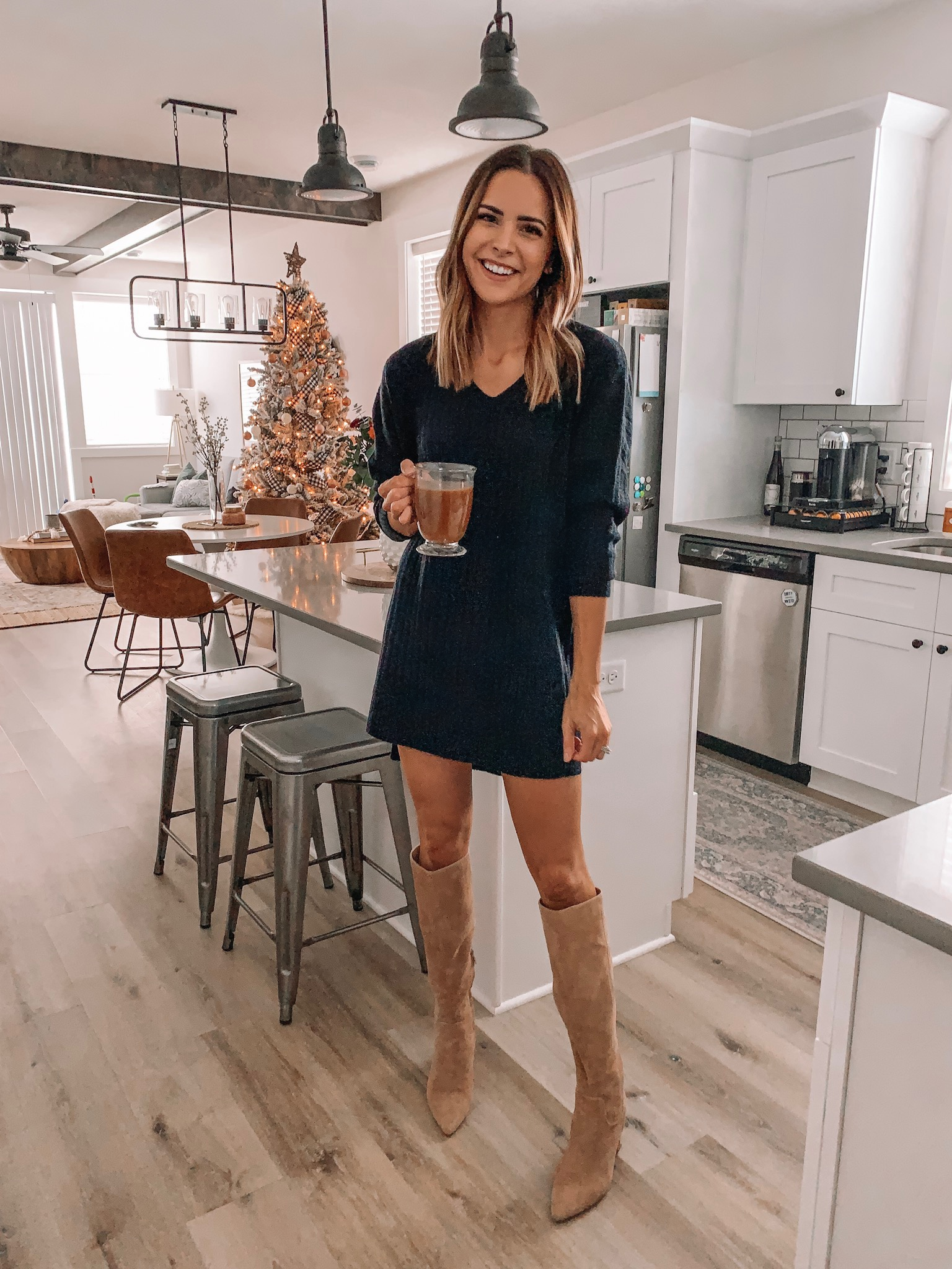thanksgiving outfit ideas, cute, comfy, dressy, Nordstrom, black sweater dress