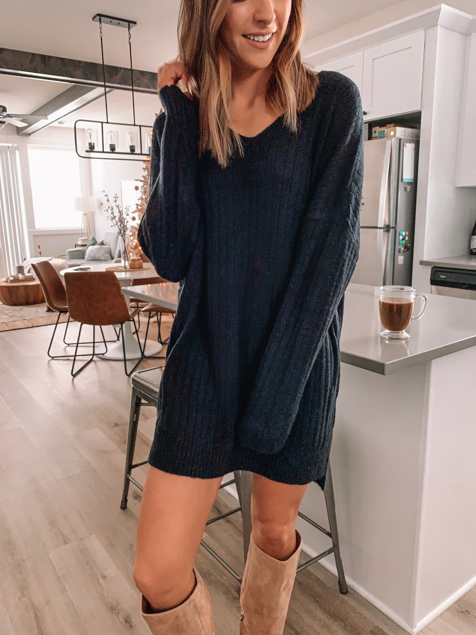 thanksgiving outfit ideas, cute, comfy, dressy, Nordstrom, black sweater dress, dreamers by debut