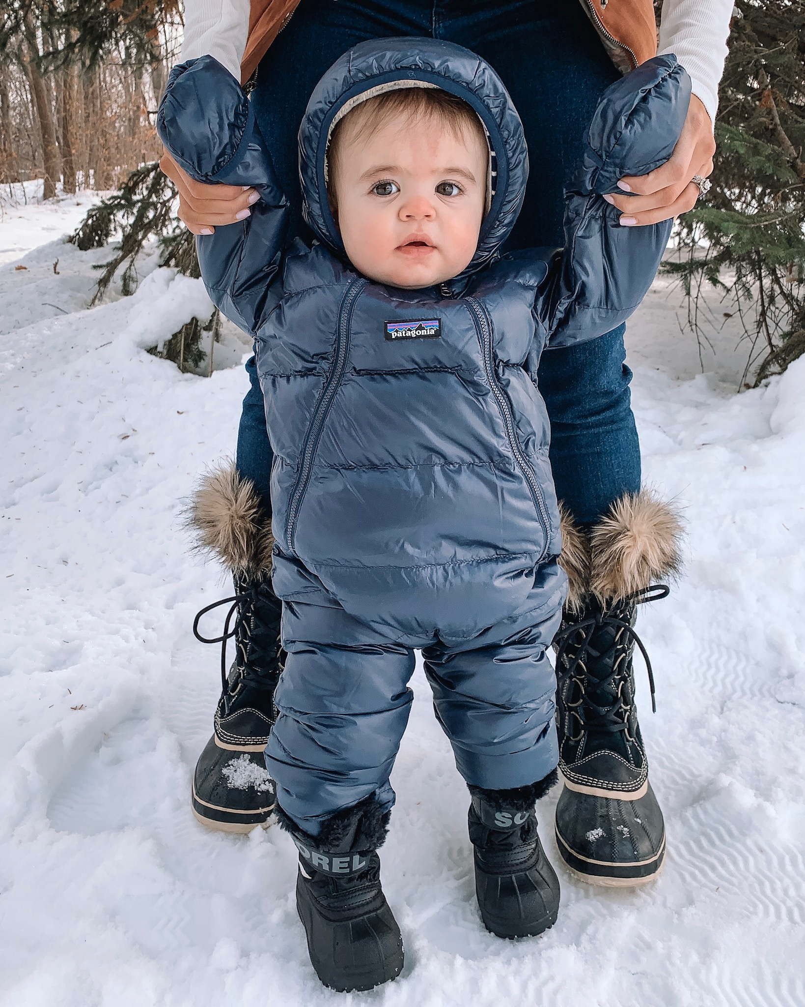 winter wear for family, gift guide, baby snowsuit, Patagonia, Sorel boots toddler, Joan of arctic, backcountry