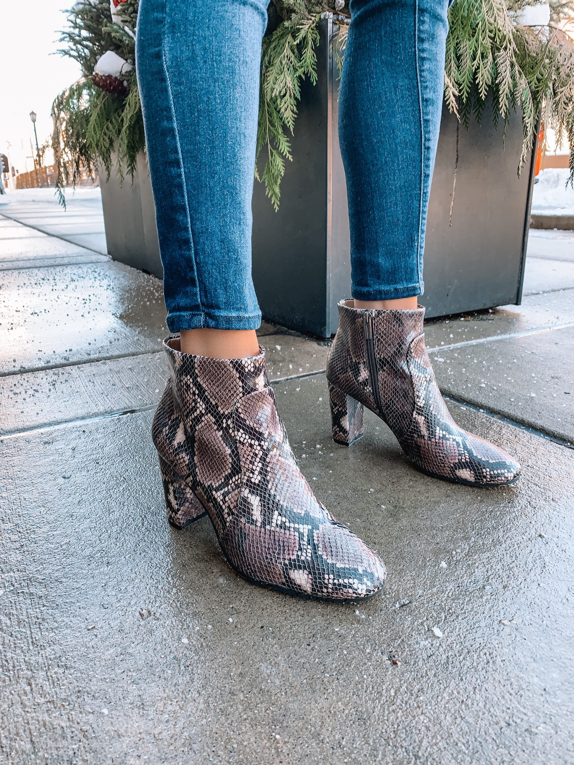 Vince Camuto stylish booties, winter outfit, sanstan snakeskin boots,