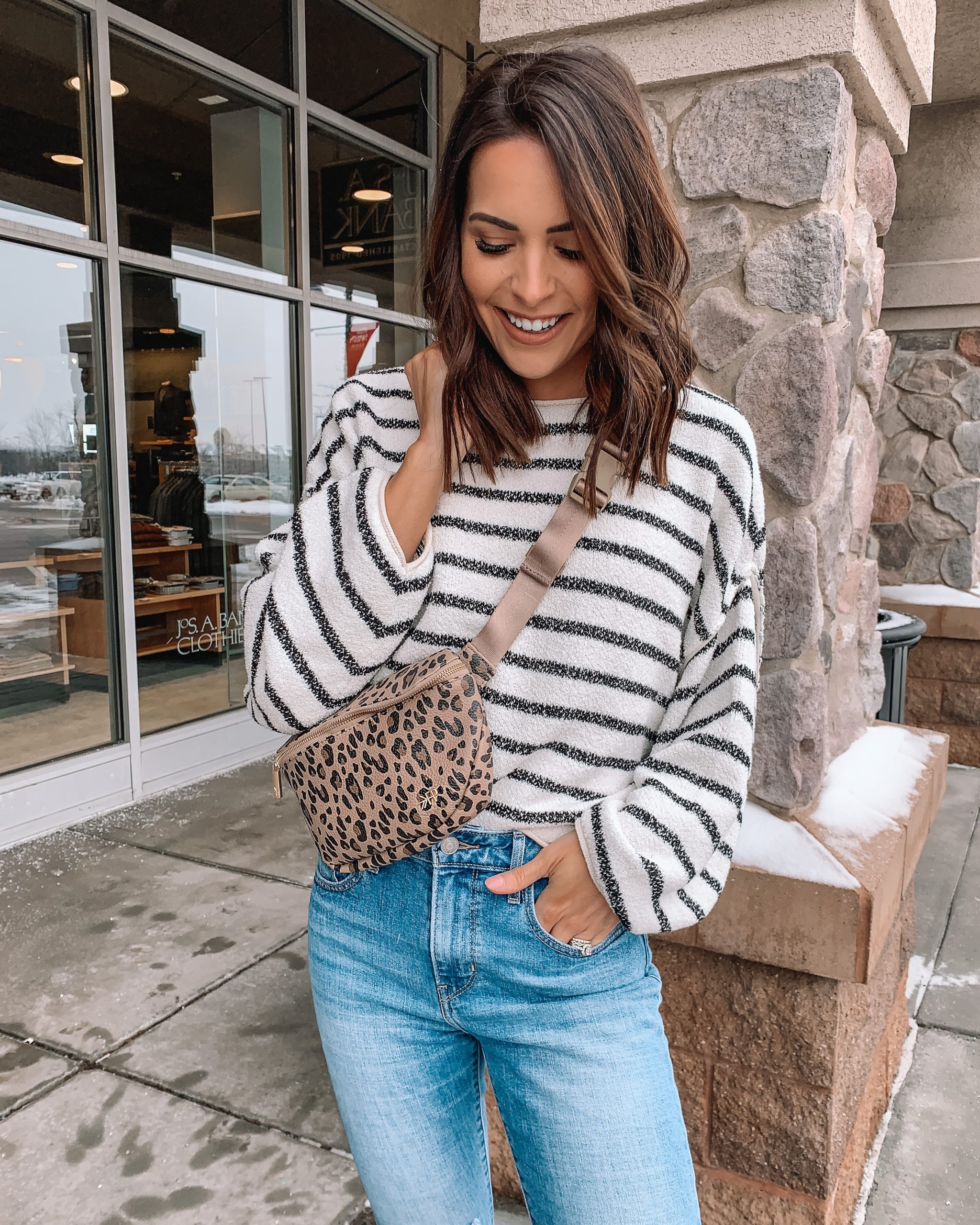 my New Years resolutions, freshly picked leopard belt bag, fanny pack style, free people Bardot sweater, Minneapolis blogger