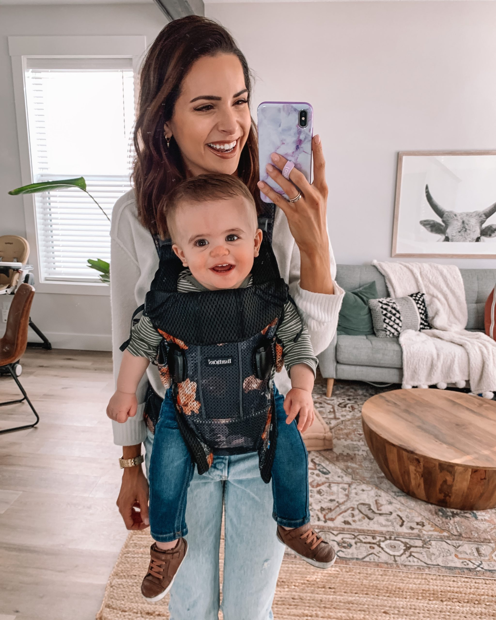 Keldon 1 year update, one year milestones, babybjorn one air midnight florals, baby carrier safe