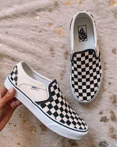 vans, slip on sneakers