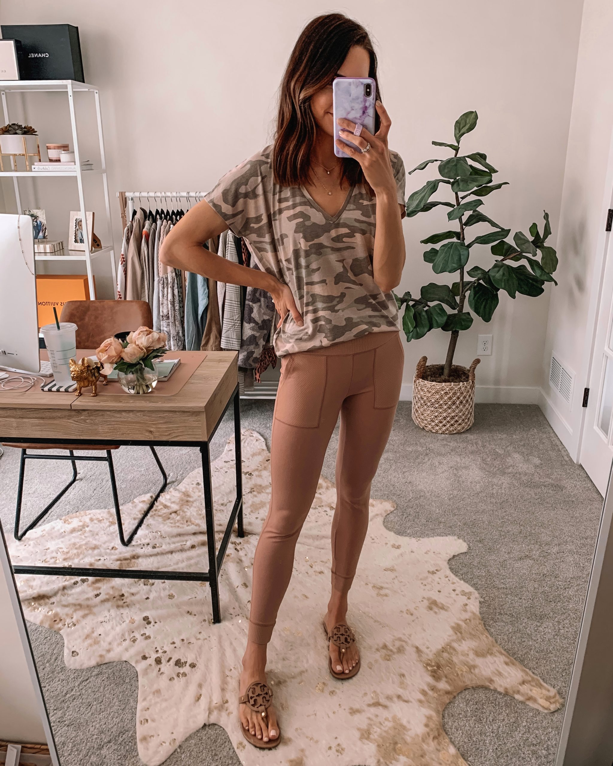 cute wfh looks, work from home outfit, comfortable, express, camo tee