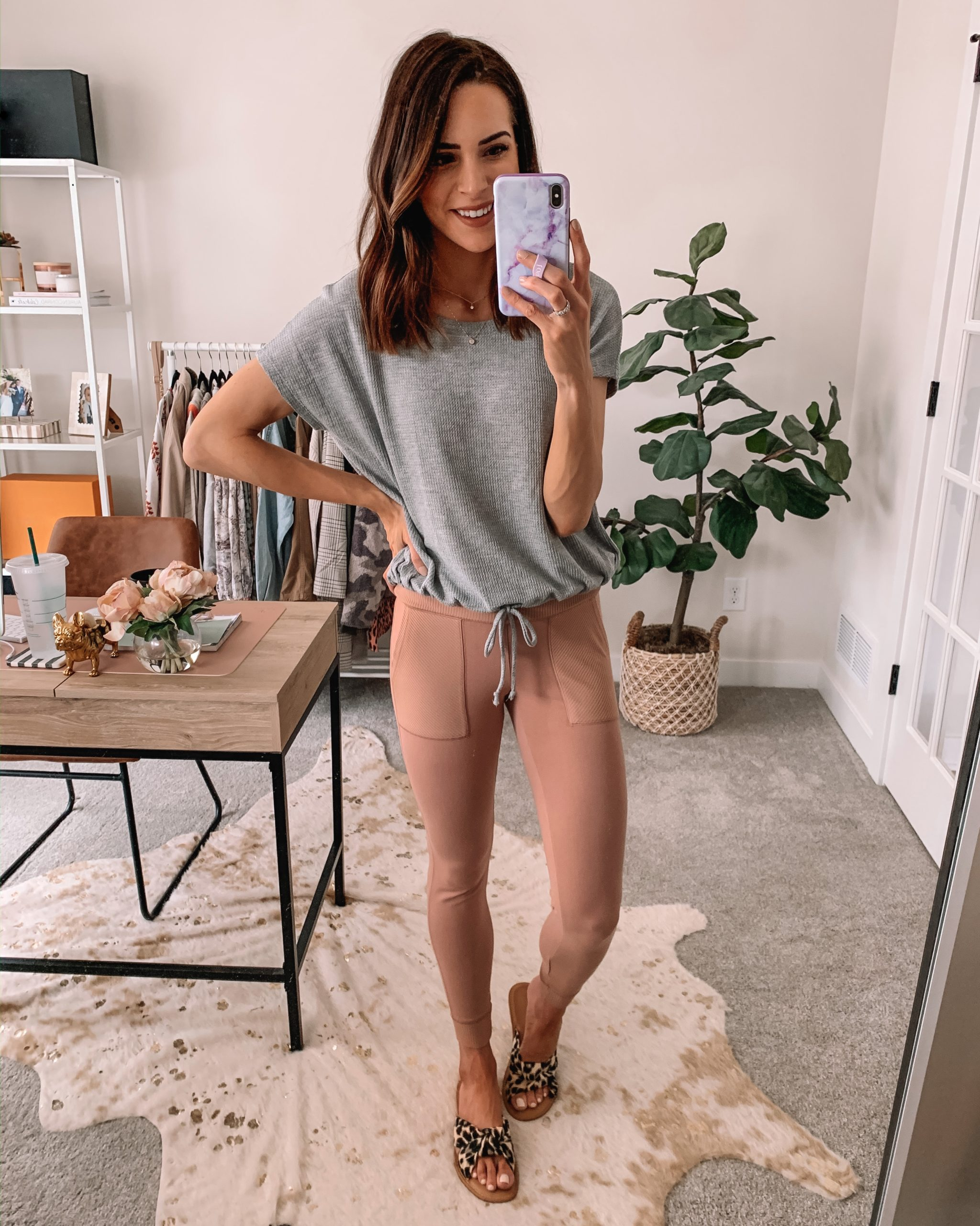cute wfh looks, work from home outfit, comfortable, express, blush leggings